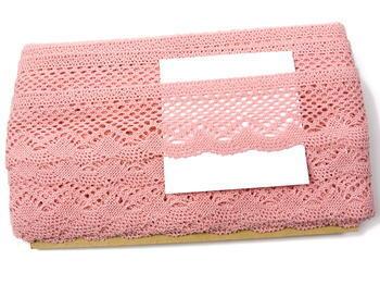 Paličkovaná krajka vzor 75414 růžová | 30 m - 6