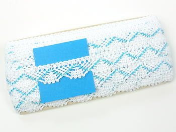 Bobbin lace No. 75423 white/turquoise | 30 m - 6