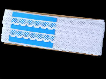 Paličkovaná krajka vzor 75592 bílá | 30 m - 6